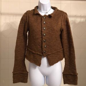 Free People Wool Brown Button Long Sleeve Sweater